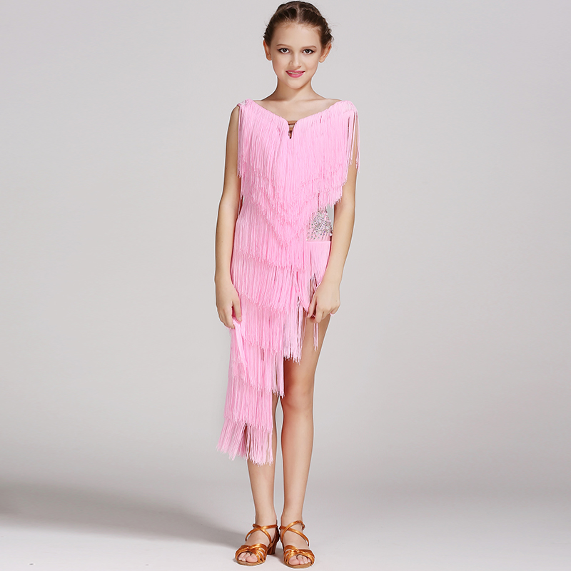 Picture of 5 Colors Pink Modern Dance Dress For Girls Dance Competition Latin Salsa Dress Latin Dance Dress Tassel Kids Latin Dress Samba