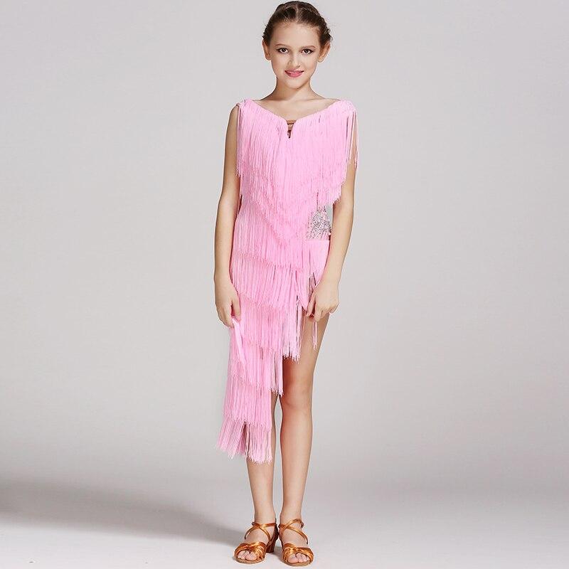 5 colors pink modern dance dress for girls dance competition latin salsa dress latin dance dress tassel kids latin dress samba
