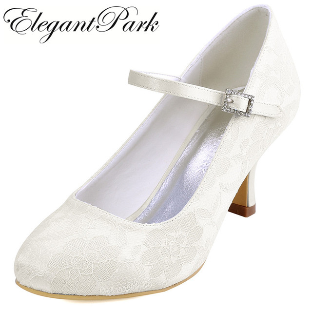 Attirant Woman White Ivory Bridal Wedding Shoes Low Heels Mary Jane Comfort  Rhinestones Buckle Lace Lady Bride