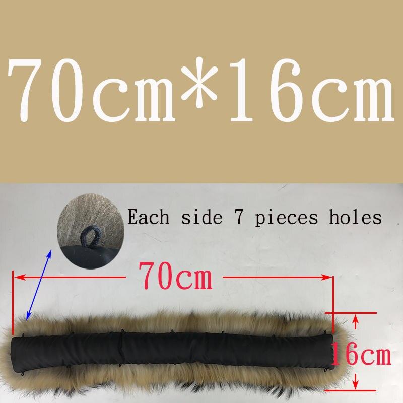 Воротник из натурального меха натуральный мех енота шарф для мужчин женщин детские парки пальто мужской мех воротники черный 50 60 70 90 см - Цвет: Natural 70cmX16cm