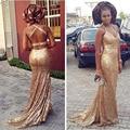 2016 barato novo Rose ouro lantejoulas Halter Prom vestidos longos da sereia Plus Size cruzado voltar Formal Evening partido Pageant vestidos