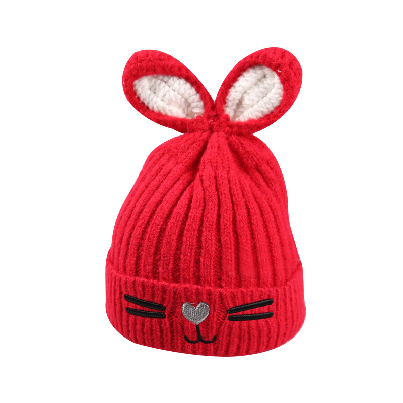 New Rabbit Ears Baby Hat Winter Knitted Cute Toddler Hat Crochet Baby Girls Beanie Cartoon Pattern Embroidery Hat For Baby Boys