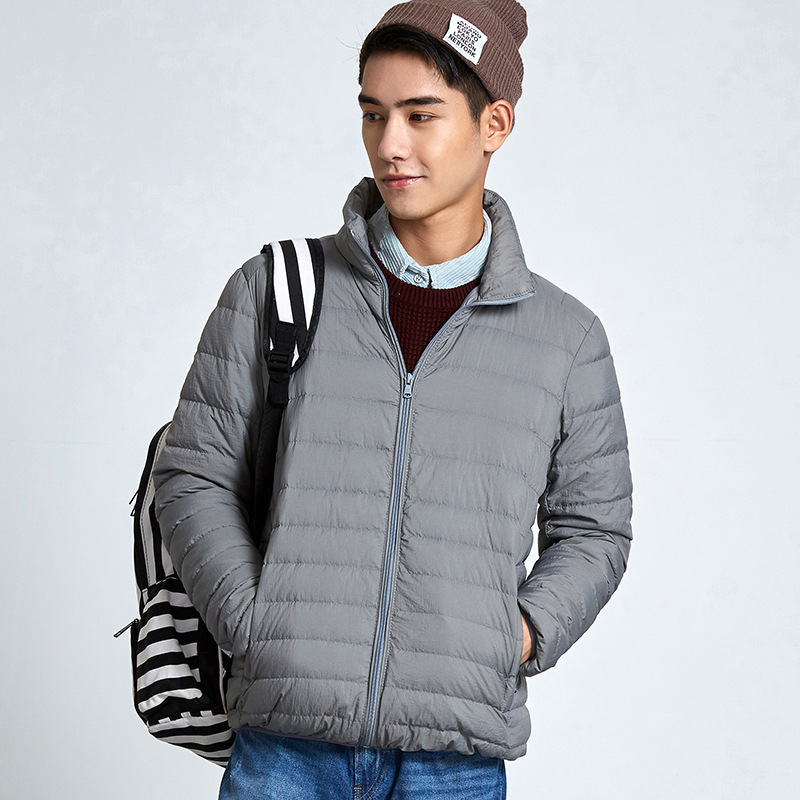 New men's   down   jackets light and thin Stand collar   down     coat   for men winter Solid color slim Short version zipper outwear Tops