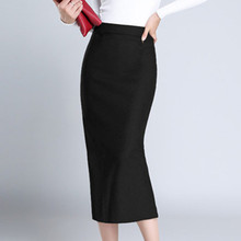 1PC High Waist Pencil Skirts Plus Size Fashion Women Office Mid-Calf Solid Skirt Casual Slim Hip Skirt Black