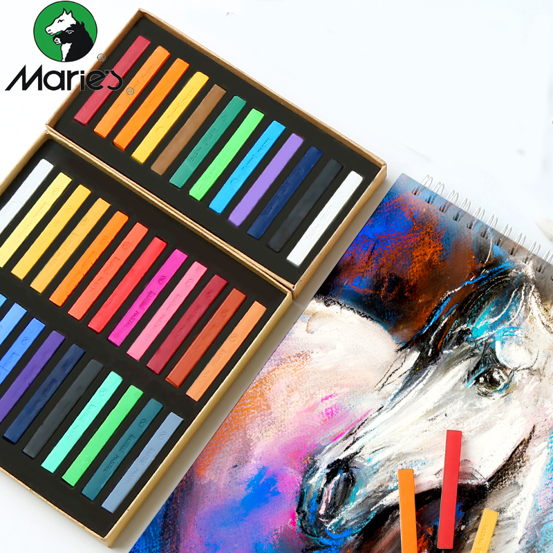 Marie's Painting Crayons Soft Pastel 12/24/36/48 Colors Art Drawing Set Chalk Color Crayon Brush For Stationery Art Supplies