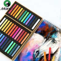 Pintura de Marie crayones Pastel suave 12/24/36/48 colores juego de dibujo artístico pincel de cera Color tiza para artículos de papelería