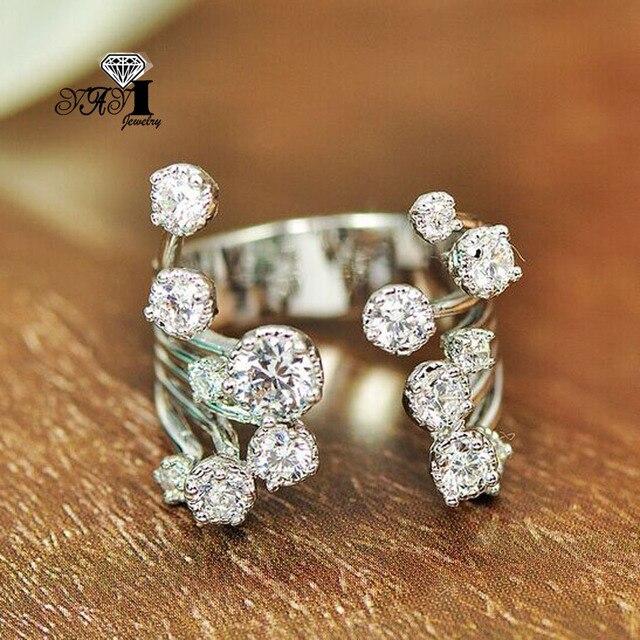 YaYI Jewelry Fashion Princess Cut 2.8 CT White Zircon Silver Color Engagement Ri