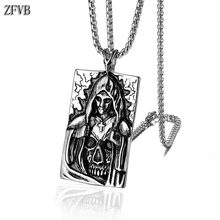 ZFVB Punk Death Satan Cross Skeleton Skull Pendant Necklaces Mens Stainless Steel Silver Color Fashion Biker Demon Jewelry mens stainless steel death satan cross skeleton skull pendant silver color punk fashion biker demon jewelry