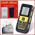 Желтый 245ft (80 м) Лазерный Дальномер Уровень Дальномер Дальномер Рулетка Площадь/Объем Лазера Ленты мера