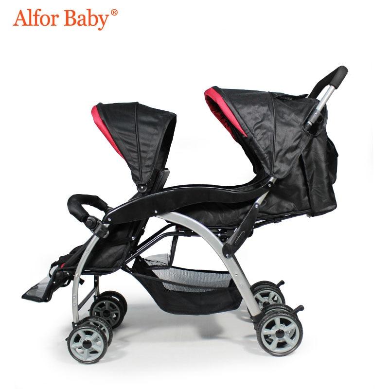 цена на Twin Baby Stroller Double Lightweight Folding Shock Absorber Comfort Cart Two Child Stroller