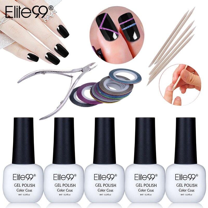 Elite99 5pcs UV Nail Gel Polish Nail Art Tools Set Matte Glitter Striping Tape Line Nail Cuticle Wooden <font><b>Pushers</b></font> Manicure Set