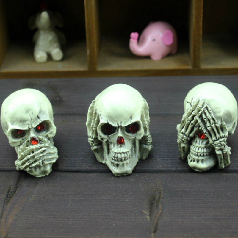 3pcs/set Terror Skeleton Art Skull Statue Sculpture Resin Crafts Gift Home Office Desktop Decorations Halloween Decor Supplies