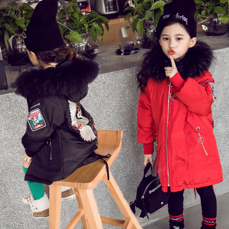 Girls Parkas Winter Warm Down Jackets 2018 Warm Toddler Girl Clothing Cotton-padded Kids Coats Hooded Fur Outwear 4 6 8 9 10 12 цена