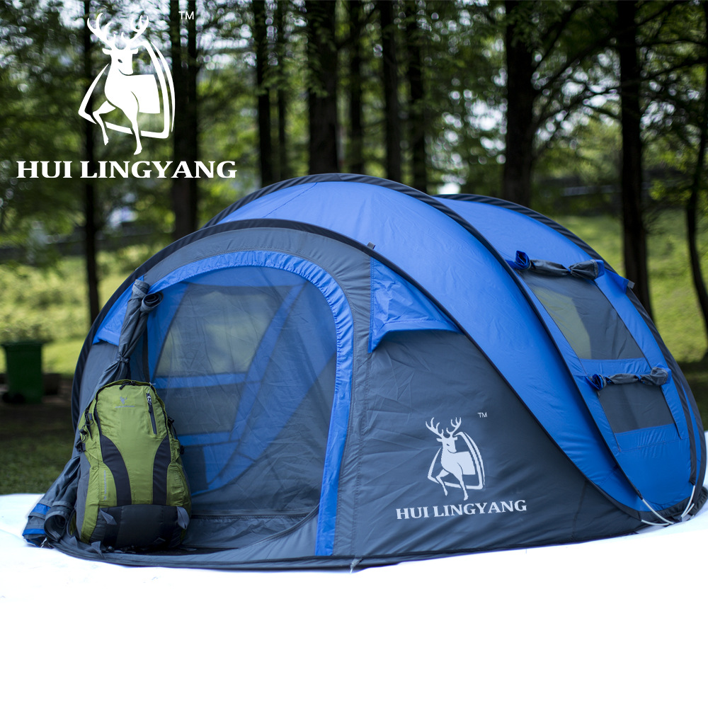 Large Space Fishing Beach Camping Tent 3-4 Persons Waterproof Automatic Speed Open Family Travel Tent for winter fishing outdoor camping hiking automatic camping tent 4person double layer family tent sun shelter gazebo beach tent awning tourist tent