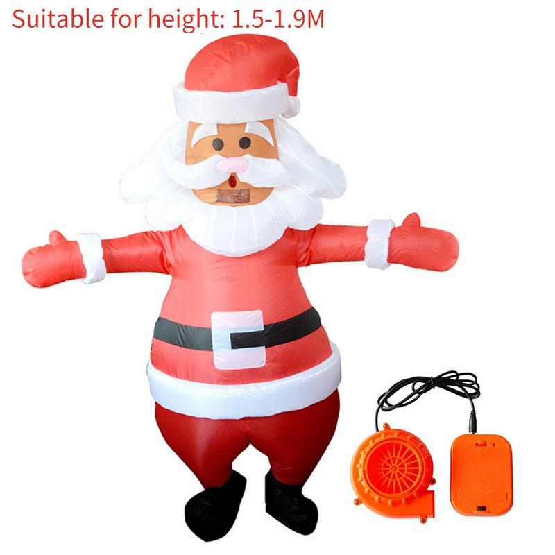 Popular Christmas Santa Claus Shape Inflatable Clothing Outdoor Christmas Party Adult Costume Dress Up Props With Blower