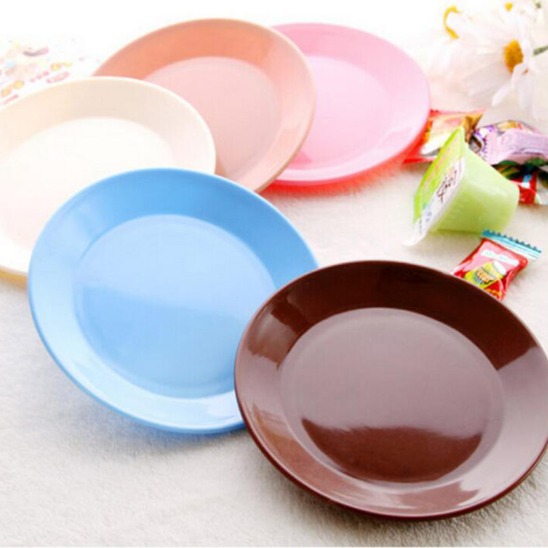 2 pcs candy color plates dishes compote dazzle saucer fruit tray serving tray snacks pp plastic