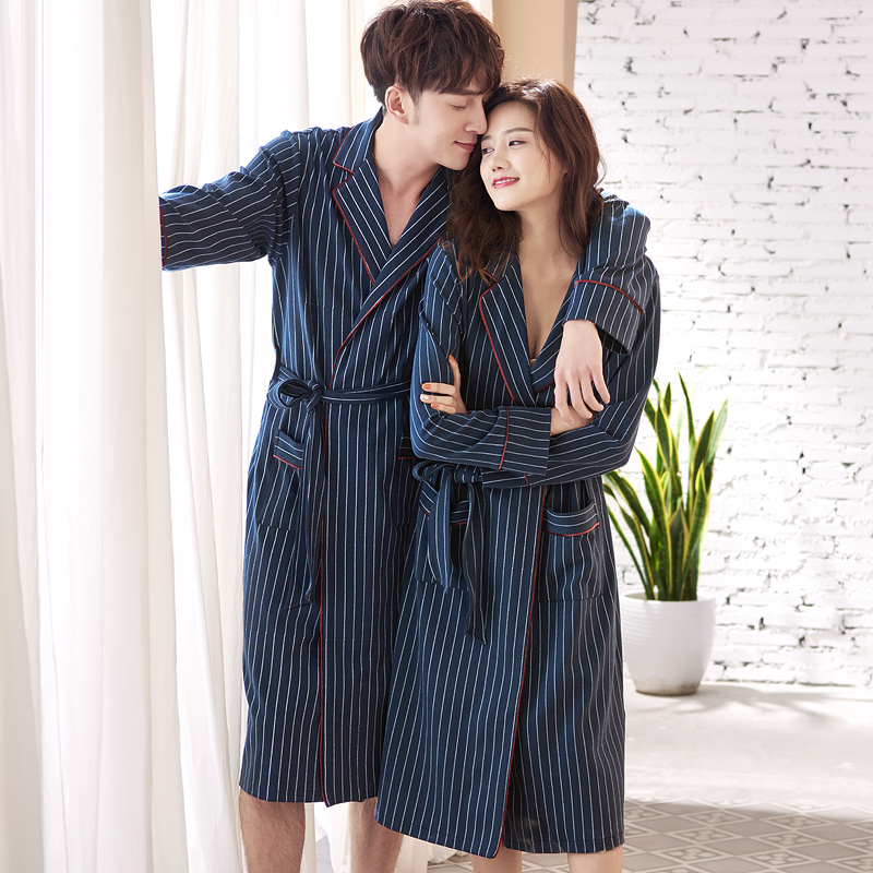 Spring and autumn pajamas lovers 100% cotton bathrobes long-sleeve long design female male cotton knitted home wear robe