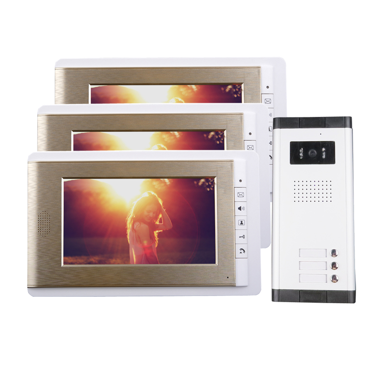 Brand Apartment 7 Color TFT Video Door Phone Intercom System 3 Monitors + 1 Doorbell Camera for 3 house IN Stock FREE SHIPPING door intercom video cam doorbell door bell with 4 inch tft color monitor 1200tvl camera