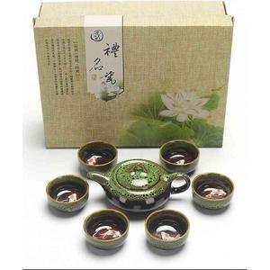 Image 4 - 中国カンフー茶は、セラミック釉薬ティーポット磁器 Teaset ポータブル茶カップ茶道の茶器のためのギフトセット友人