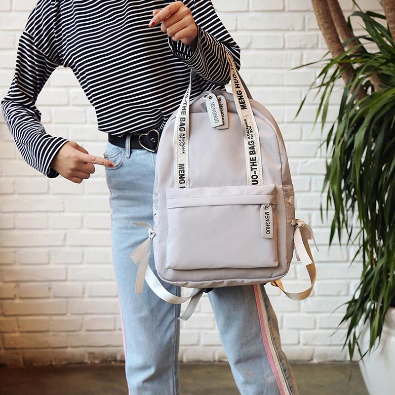 Menghuo Large Capacity Backpack Women Preppy School Bags For Teenagers Female Nylon Travel Bags Girls Bowknot Backpack Mochilas (24)