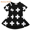 Ins Baby Girls Dresses Punk Cross Print Summer Girl Dress Black Toddler Girls Dress For 12M-3T Casual Children Girls Clothes C50