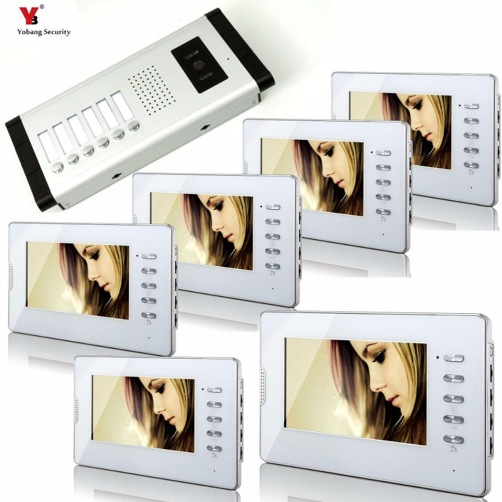 Yobang Security 7 inch Color Wired Video Doorbell Door Chime,Rainproof Door Phone For 6 White Units Villa Apartment Intercom yobang security 9 inch lcd home security video record door phone intercom system doorbell video monitor for apartment villa