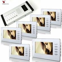 Yobang Security 7 inch Color Wired Video Doorbell Door Chime,Rainproof Door Phone For 6 White Units Villa Apartment Intercom