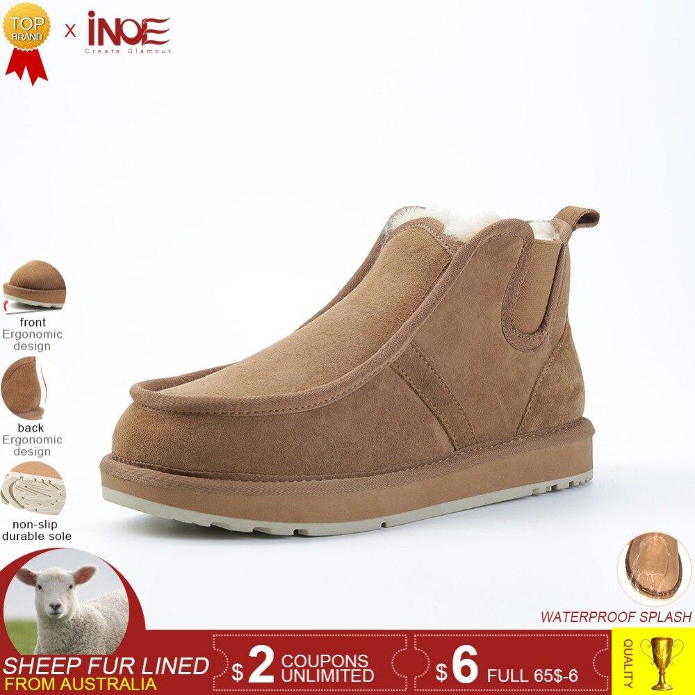 INOE Beckham même style réel en peau de mouton en cuir suédé slip-on hiver neige bottes pour hommes laine naturelle fourrure doublé chaussures d'hiver brun