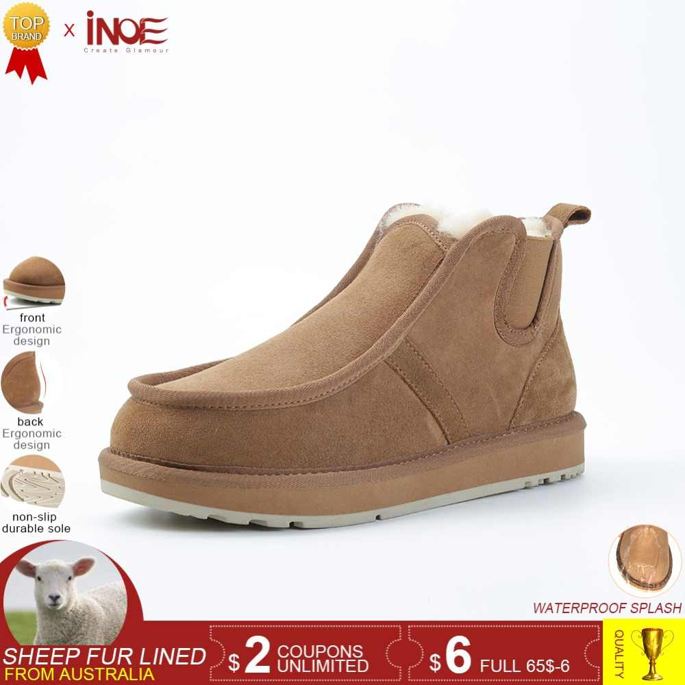 101822ab866e INOE Обувь мужская в стиле Бекхэм модные ботинки из натуральной овечьей  кожи замшевые зимние теплые ботинки