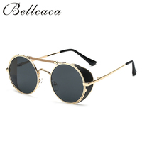 Bellcaca Fashion Steampunk Goggles Sunglasses Women Men Brand Designer Lady Punk Sun Glasses For Female Male