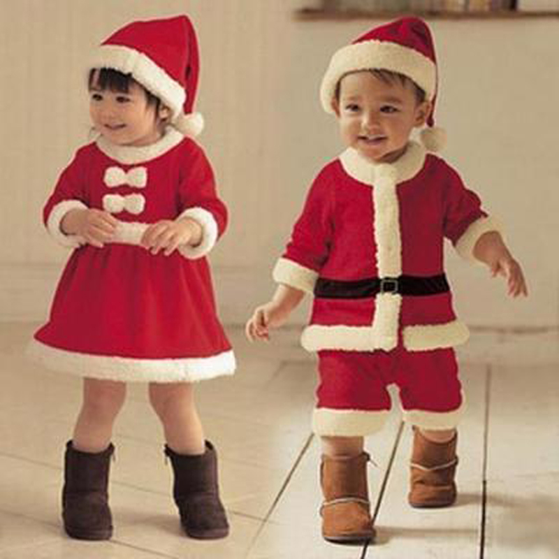 Children Christmas Cosplay Clothing Set Baby Boys Girls Christmas Suit And Dress Santa Claus Costumes Newborn Enfant Clothes