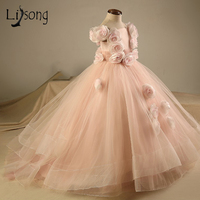 Blush Pink 3D Flower Pageant Dresses For Girls Ruffles Tiered Kids Ball Gown Long Flower Girl