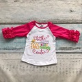Easter baby girls little miss Eggs tremely three quarter cotton boutique cute top T-shirt raglans clothes ruffles  print prince