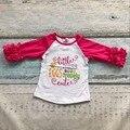 Huevos de pascua de los bebés little miss extremadamente tres cuartos de algodón boutique de ropa volantes impresión linda camiseta camiseta raglans prince