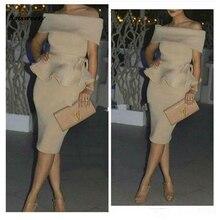 Шампанское ню пятно Дубай дешевые мать Бр арабские женщины с плеча прямой короткий Пром платья Средний Восток