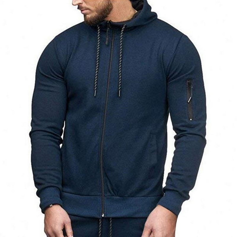 HTB1OUa7aELrK1Rjy1zbq6AenFXaB HEFLASHOR Men Drawstring Sportwear Set Fashion Solid Sweatshirt&Pants Tracksuit Casual Zipper Hoodies Outwear Clothes 2019