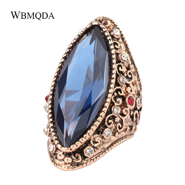 Bohemian Big Crystal Antique Gold Ring Luxury Textured Blue Stone Rings For Wome