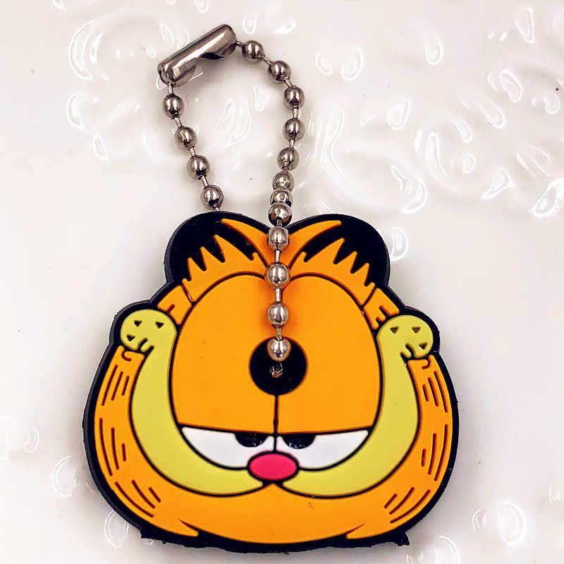 1PCS อะนิเมะ Garfield นกฮูกหมีแมวซิลิโคนฝาครอบพวงกุญแจการ์ตูนน่ารักหมวกพวงกุญแจสำหรับกระเป๋าสตรี