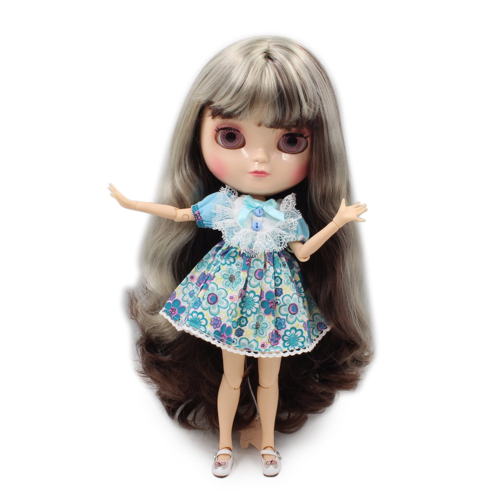 Ледяной куклы маленькая грудь азон тела fortune дней BL8800/0222 серебристо-серый смешать темно-коричневые волосы с челкой/бахрома 30 см