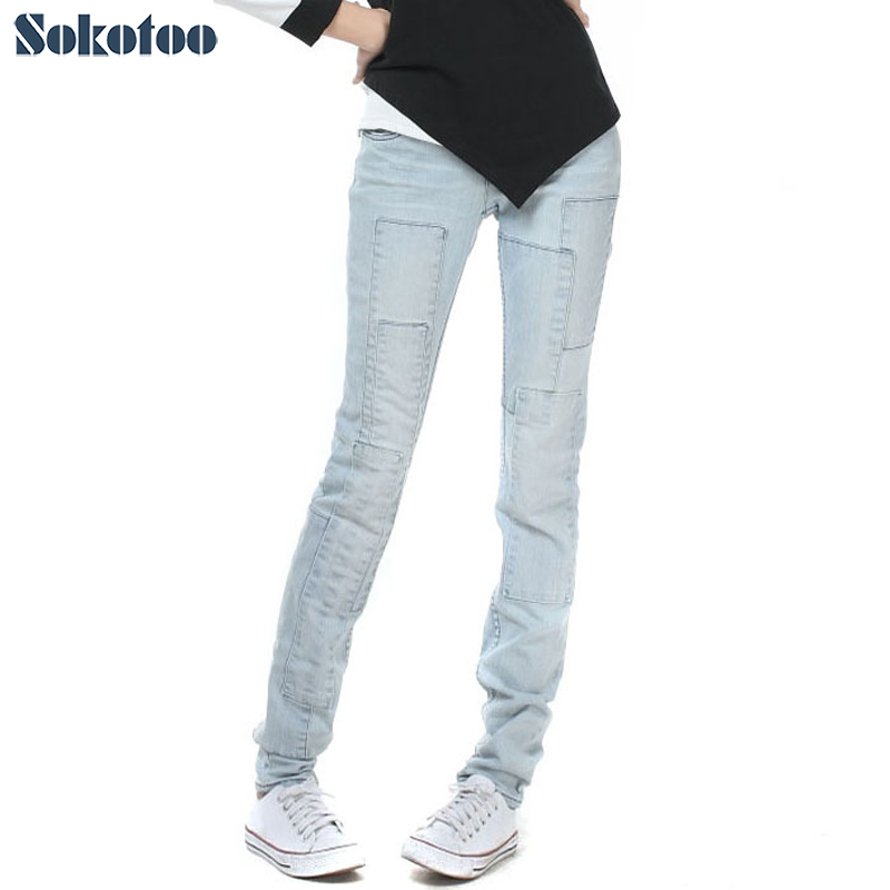 Sokotoo Women's all match light <font><b>blue</b></font> lengthened denim <font><b>jeans</b></font> for big and tall Spliced vintage pants cheap price high quality