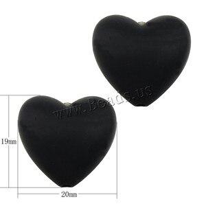 Image 2 - 100 pcs/lot perles de dents en Silicone en forme de coeur de qualité alimentaire bricolage perles de dentition en silicone sans bpa pour Bracelets de bébé bébés à mâcher