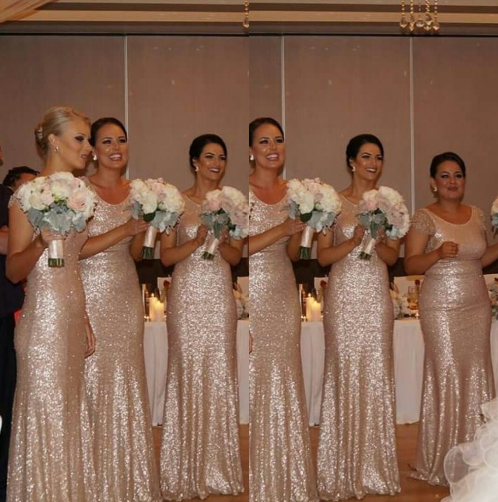 Thrifty Shining Sexy Sequins Bridesmaid Gown Navy Blue Peach Ivory Champagne Silver Yellow Hunter Mermaid Sequined Bridesmaid Sequin Bridesmaid Dresses Cheap Sequin Bridesmaid Dresses Kc