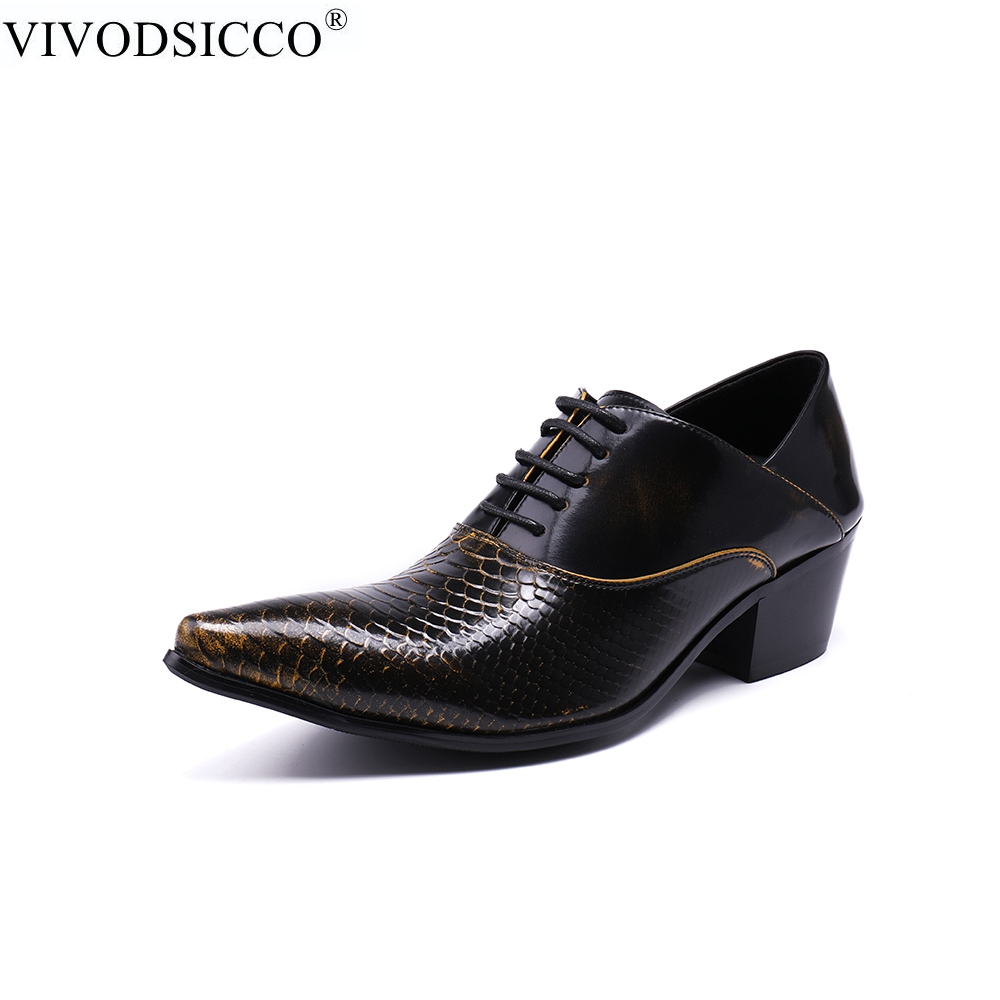 VIVODSICCO British Style High Heels Snake Men Wedding Dress Shoes Genuine Leather Oxfords Shoes Office Business Men Formal Shoes snake pattern men genuine leather shoes fashion men oxfords shoes increased british style goodster handmade men leather shoes