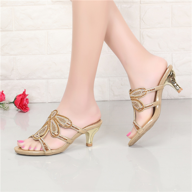 New Luxury Diamond Stiletto High Heels Slippers Online Shopping Peep Toe Womens Shoes Sale High Quality Gold Purple Black Red3