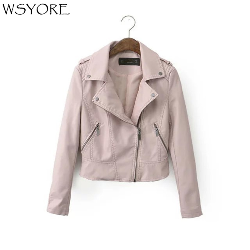 WSYORE Fashion Wild PU Faux   Leather   Motorcycle Jacket 2019 New Casual Spring and Autumn Women Short Slim Biker Jacket NS335