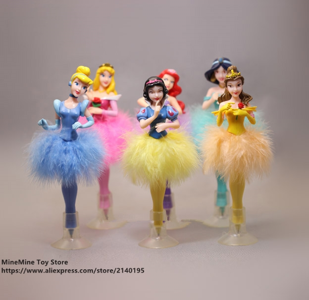 ZXZ Princess Cinderella Snow White ball pen 6pcs/set 19cm Action Figure Decoration PVC Collection Figurine Toys model gift