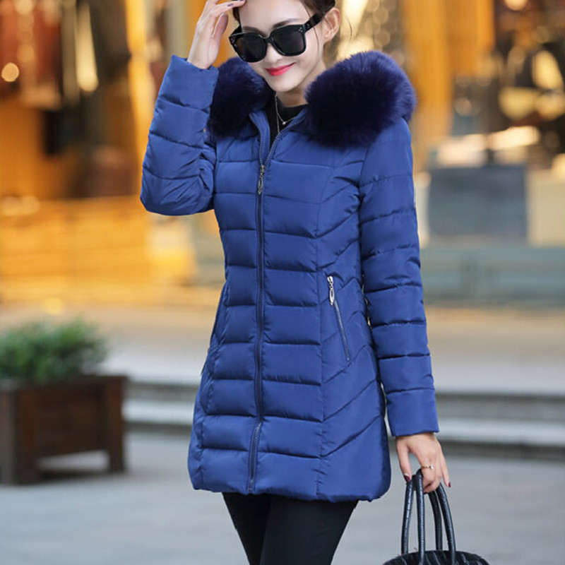 Winter new down jacket women 2017 oversized luxury fur collar thicker coat in the long section of 20-30-40 years old 2017 winter new clothes to overcome the coat of women in the long reed rabbit hair fur fur coat fox raccoon fur collar