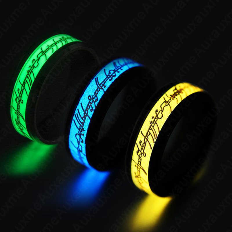Auxauxme 1 pçs aço inoxidável senhor do anel luminoso 3 cores brilhando no escuro masculino anel festa presente punk jóias atacado 6-13