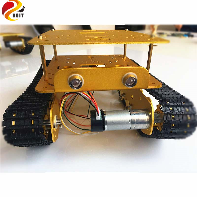 Smart RC Metal Tank Car with Shock Absorption Caterpillar Tracked Vehicle Chassis Frame Crawler Bearing Platform,Servos,Controll diy 85 light shock absorption plastic tank chassis with rubber crawler belt tracked vehicle big size