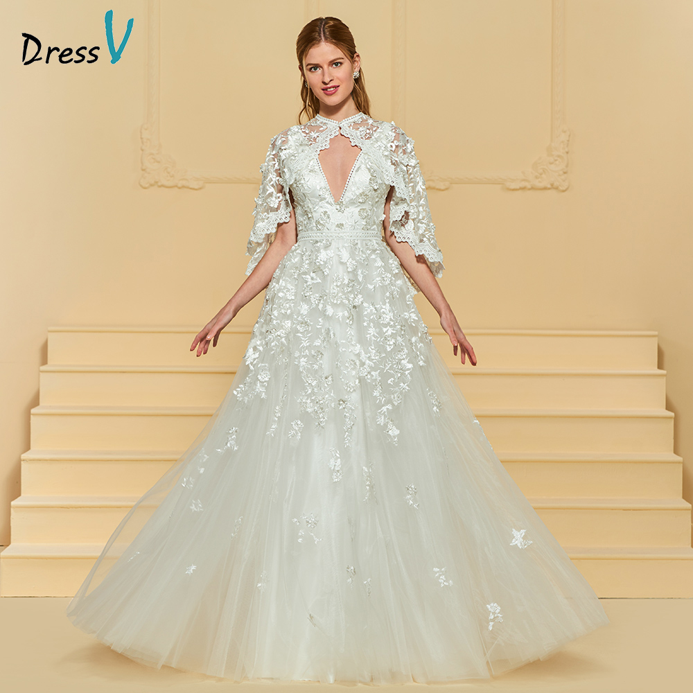 Wedding Gown With Neck Detail: Dressv Ivory Elegant A Line Wedding Dress V Neck With